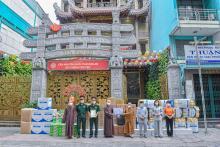 Chùa Giác Ngộ trao tặng trang thiết bị và vật tư y tế cho BTS GHPGVN tỉnh Long An, GHPGVN tỉnh Bình Dương, chùa Ân Thọ tỉnh Long An